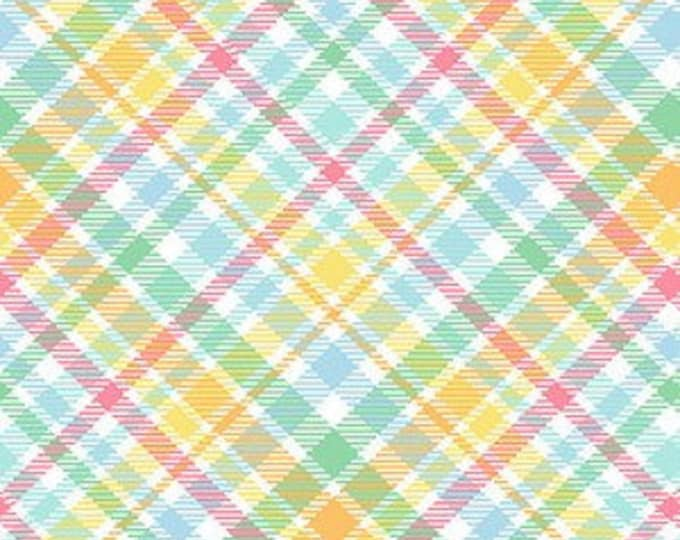Henry Glass Fabric 1842-21 Multi Plaid  Down on The Bunny Farm Cotton BTY