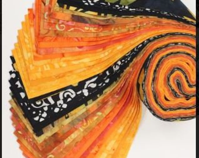 PSQ Exclusive Jelly Roll Orange and Black 40 2.5 Inch Fabric Strips SYQ