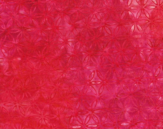 Anthology Art Inspired Jacqueline de Jonge Batik Rainbow with Stamp Red Pink Floral Fabric 16308 BTY
