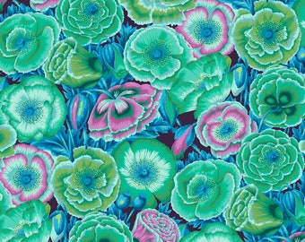 NEW Kaffe Collective Philip Jacobs Spring 2018 Poppy Garden Green Teal Purple PWPJ095.GREEN Fabric BTY