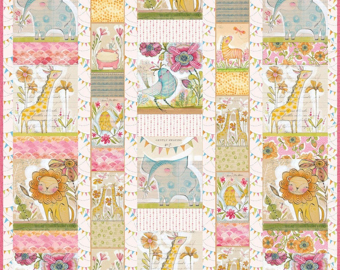 Blend Fabrics Menagerie feat. Hello World Fabric Cori Dantini Baby Toddler Quilt Kit 56 x 54