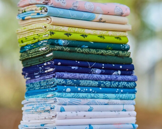 25 Night Hike Fat Quarters Windham Heather Givans Blue Green Cream White Tree Firefly Fabric