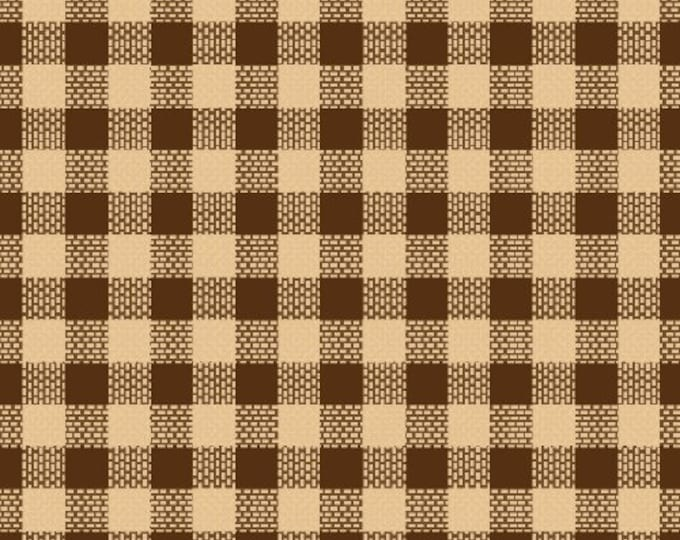 Windham Fabrics Basics Brown squares with beige stripes   Cotton 27683-4 BTY