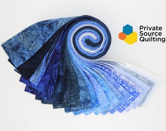 PSQ Exclusive Balilicious Batik GLACIER Deep Light Blue Navy Jelly Roll 40 2.5 Inch Fabric Strips
