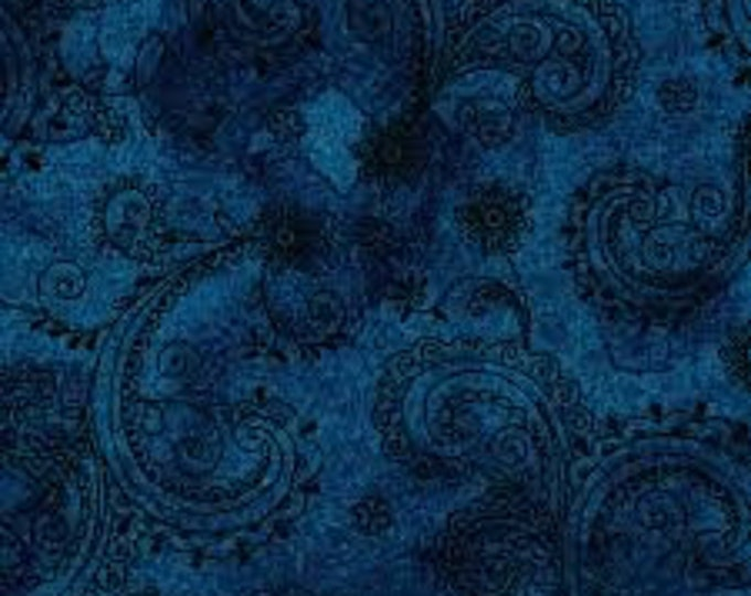 Quilting Treasures QT Fabrics Avalon Midnight Navy Blue Paisley Floral Cotton 108 WIDE Fabric 3 yard cut 26312-W
