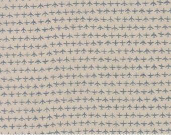 Moda Flight Janet Clare Aeroplane Airplane Taupe Gray Grey Blue Tonal Plane Fabric 1410-12 BTY