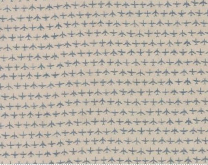 Moda Flight Janet Clare Aeroplane Airplane Taupe Gray Grey Blue Tonal Plane Fabric 1410-12 BTY
