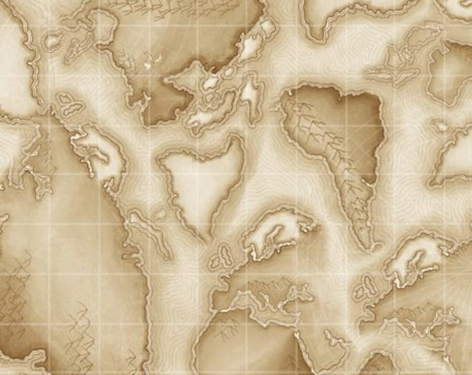 Quilting Treasures Aviator  Maps Tan Fabric  1649-24756-E BTY