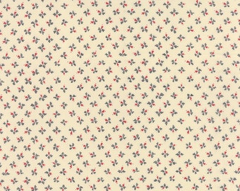 Moda Silver Linings Fabric Cream with Tiny Blue and Red Floral FLowers  BTY 42266-14