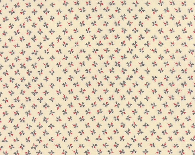 Moda LBQ Silver Linings Fabric Cream with Tiny Blue and Red Floral Flowers  BTHY 42266-14