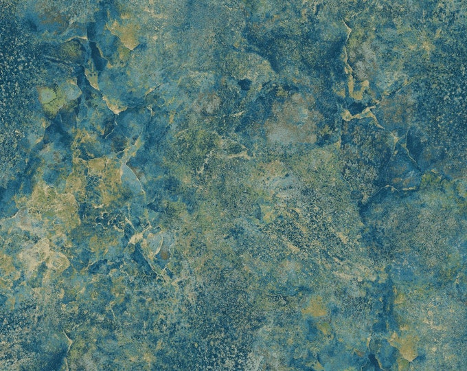 Northcott Stonehedge Gradations Blue Planet Teal Cream Mottled Marble Basic Fabric 39302-49 BTY