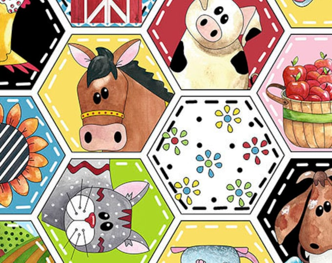 Quilting Treasures Patchwork Farms Farm Animal Cow Horse Pig Kids Fabric 26108-Z BTY