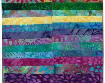 """Island Batik Sweet Nectar Purple Green Batiks Jelly Roll Strips Pack 40 2.5"""" Strips of Fabric"""