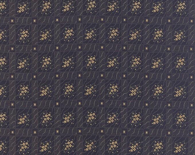 Moda Jan Patek Hawthorn Ridge Navy Blue with Tan Floral Trellis  Civil War Fabric 2164-13 BTY