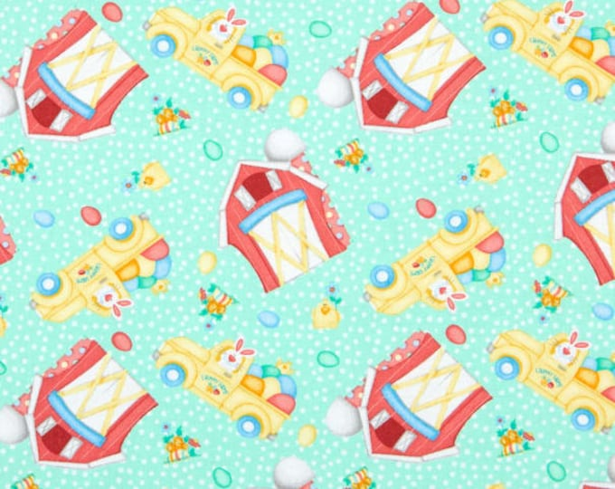 Henry Glass Fabric Down on the Bunny Farm Green BTY