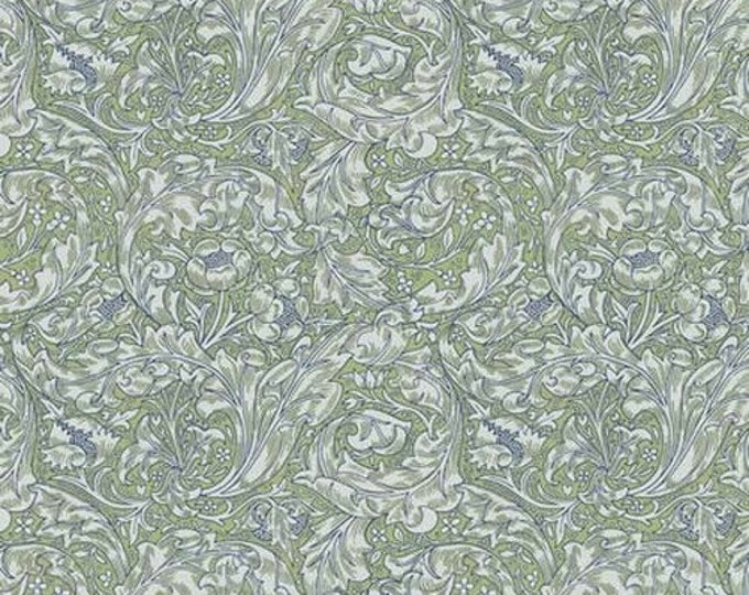 Free Spirit Kelmscott by Morris & Co.Flornets -Bachelors Button -PWWM003.GREEN Fabric BTY