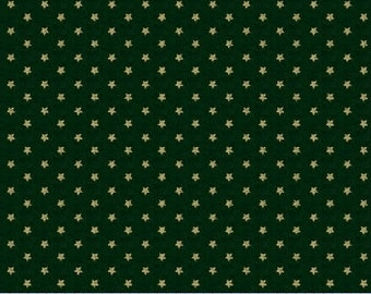 Marcus Old Sturbridge Village Civil War Christmas Green Star Background Fabric 3162-0114 BTY
