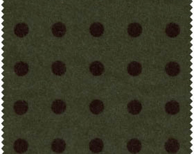 Maywood Woolies Hunter Forest Green with Black Large Polka Dot FLANNEL 18145 Fabric BTHY