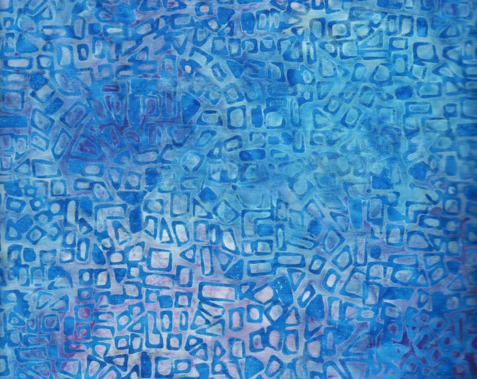 Anthology Art Inspired Jacqueline de Jonge Batik Rainbow with Stamp Flax Blue Fabric 16318 BTY