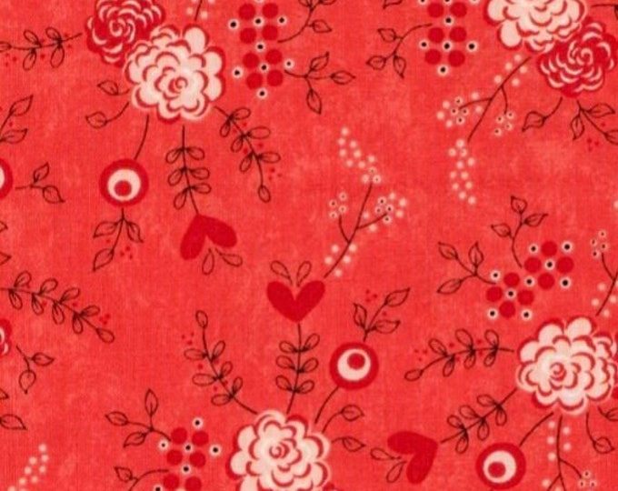 Moda Table For Two Fabric By Sandy Gervias Cotton Floral Red Theme 17751 13  BTY