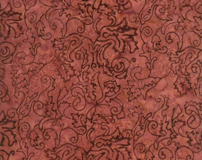 RJR Malam Jinny Beyer Batik Fabric Mauve Pink Brown Floral 1767-003 BTY