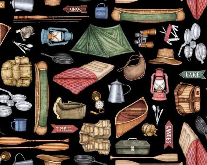 Quilting Treasures Backcountry Dan Morris Forest Camping Motif Outdoor Camp Cabin Black Fabric 26731-J BTHY