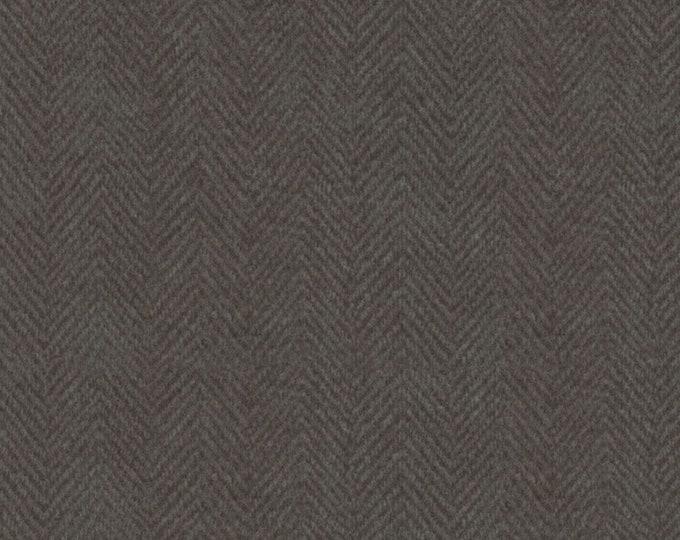 Maywood Woolies Charcoal Grey Gray Brown Herringbone MASF-1841-K3 Flannel Fabric BTY
