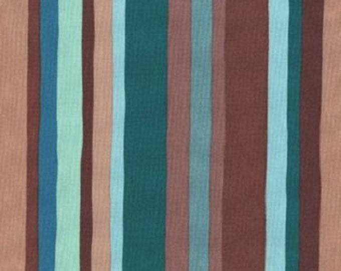 Free Spirit  Olive Rose Fabric Valori Wells -Olive Stripe Color Emerald stripe  Cotton 07600-42 BTY