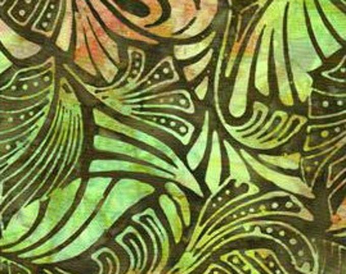 Batik Textiles Bright neon green and orange forest design on dark brown   background Cotton 4551 BTY