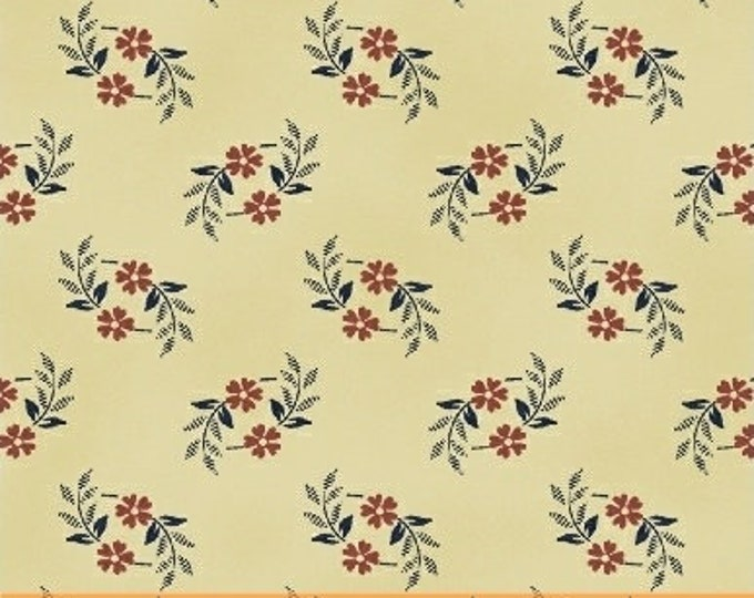 Windham Shiloh Nancy Gere Cream Beige Blue Red Floral Civil War Reproduction Fabric 50504-3 BTY