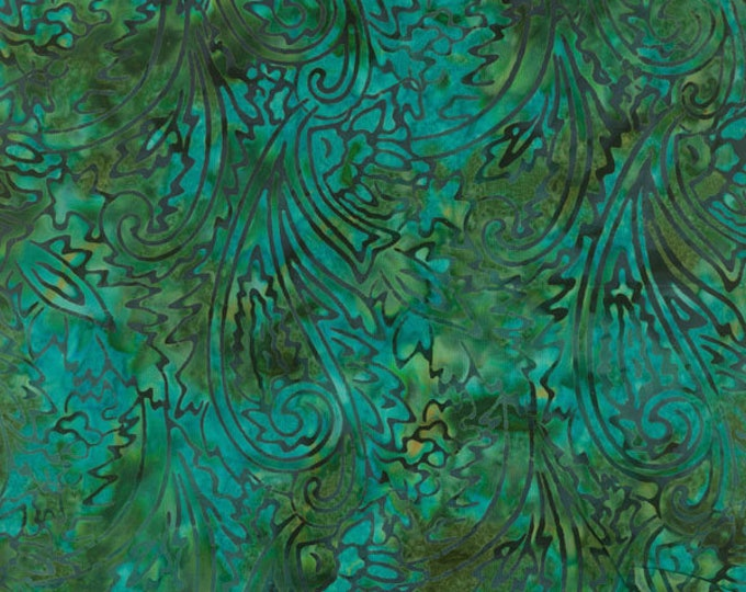 RJR Jinny Beyer Malam Batik Blue Green Paisley Floral Swirl Batik 1764-008 Fabric BTY