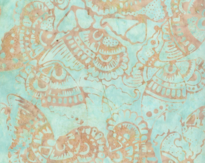 Anthology Art Inspired Batik Pierre Renoir Girls At the Piano Aqua Tan Beige Moth Butterfly Floral Fabric 269Q-2 BTY