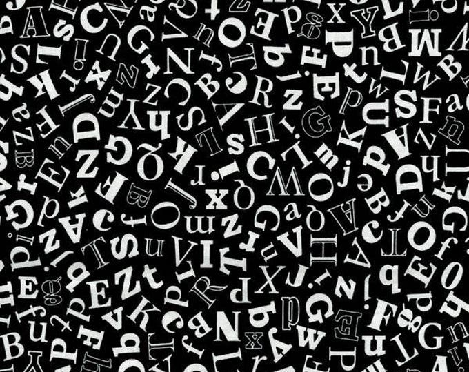 RJR Patrick Lose Odds and Ends Black and White Fabric 2903-001 Black Background White Letters BTY