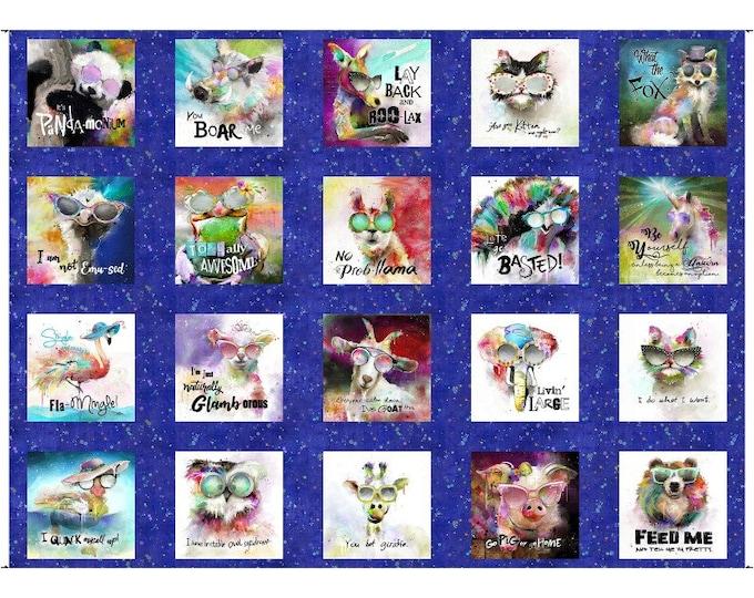 3WI15990-BLU-CTN-D 3 Wishes Fabric Sassier Animals