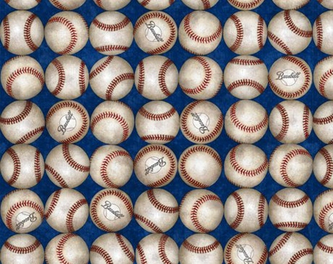 Quilting Treasures Grand Slam Baseball Blue Fabric 24912-Y BTY