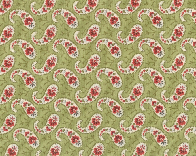 Moda Snowfall Prints Minick and Simpson Green Red Floral Paisley Holiday Fabric 14834-13 BTY