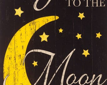 Timeless Treasures I Love you to the Moon and Back Black Fabric Panel 24 x 42