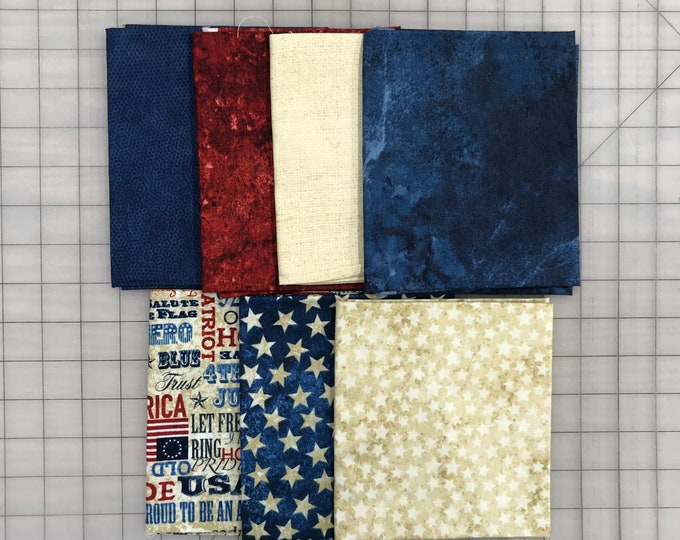 7 Red White and Blue Patriotic Stars Moda Andover Northcott Quilt Fabric Fat Quarter FQ Bundle