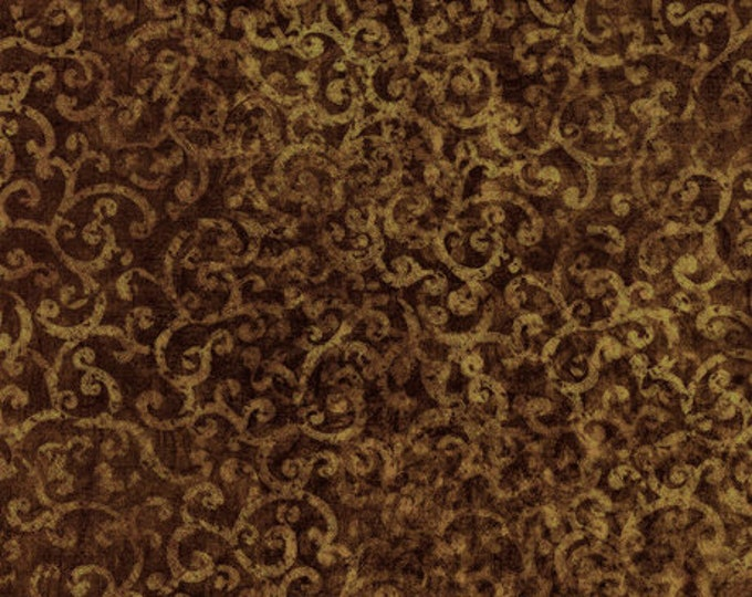 Quilting Treasures Scrollscapes Dan Morris Brown Scroll Swirl Blender Fabric 24362-A BTHY