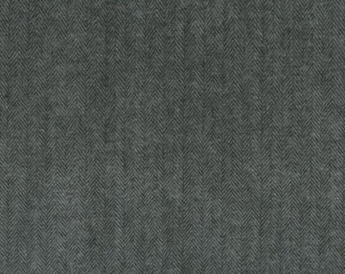 Kaufman Shetland Flannel Jet Charcoal Dark Grey Gray Herringbone Fabric 13936-190 BTY