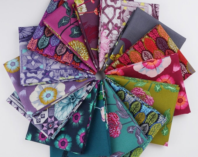 Free Spirit English Summer Anna Maria Horner Conservatory Floral Fabric Purple Green Pink Blue 15 Fat Quarter FQ Bundle