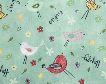 Wilmington On The Road Again Katie Doucette Happy Sing Enjoy Bird Fabric BTY