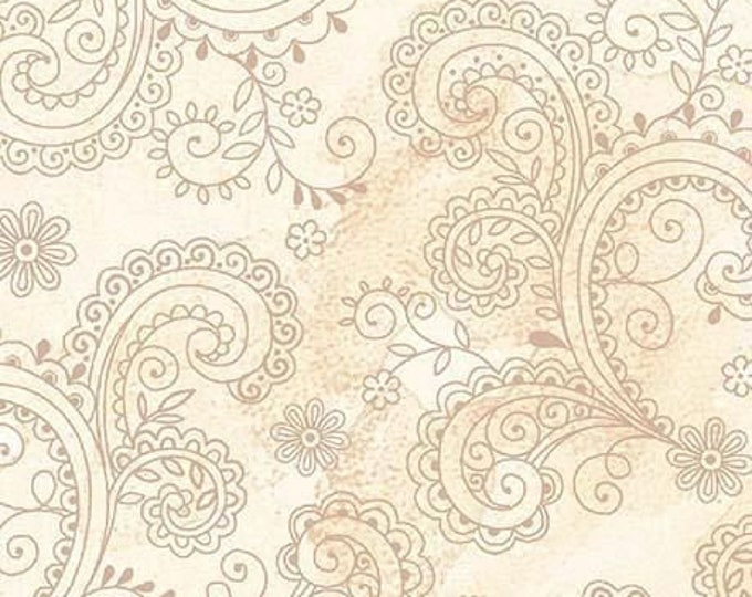 Quilting Treasures QT Fabrics Avalon Ecru Cream Paisley Floral Cotton 108 WIDE Fabric 3 yard cut 26312-E