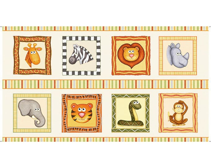 Quilting Treasures Jungle Buddies Lion Snake Monkey Kids Panel Cream Fabric 26411-E BTP