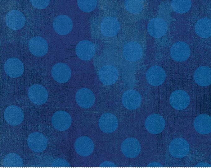 Moda Basic GREY Hits the Spot Cobalt Blue Polka Dot Grunge 30149-28 Fabric BTY