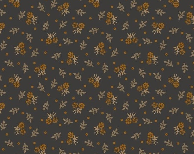Marcus Antique Cotton Calicos Pam Buda Grey Rust Tan Floral Civil War Reproduction 7912-0147 Fabric BTHY