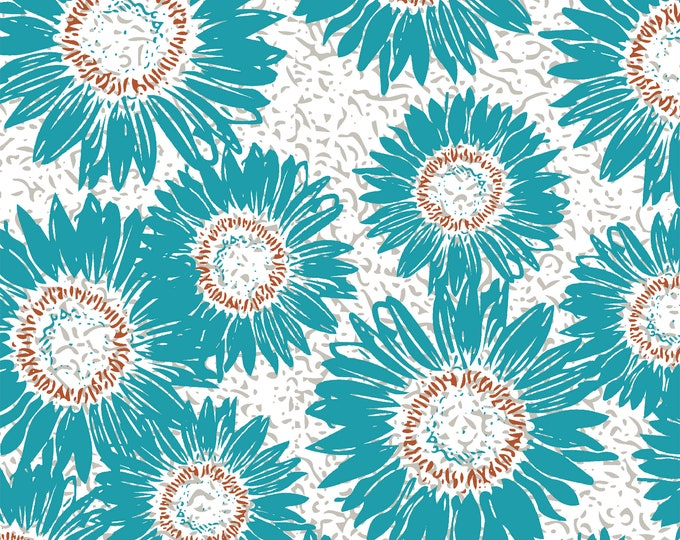 Windham Beyond the Reef Natalie Barnes Makers Home Turquoise Floral Fabric BTY 43152-1