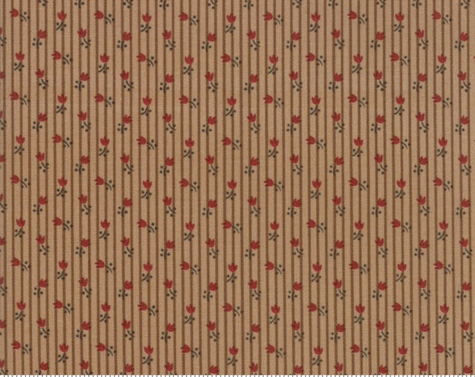 Moda Jos Shirtings by Jo Morton Mocha Light Brown Red Floral Civil War Fabric 38045-14 BTY