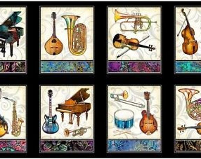 """Quilting Treasures   Fine Tuning  Music Instrument Black Fabric  Panel 23"""" x 44"""" BTY 26843-J"""