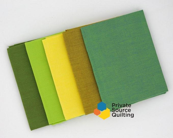 Windham Artisan Cotton Woven Green Yellow Orange Fabric 5 Fat Quarters FQ